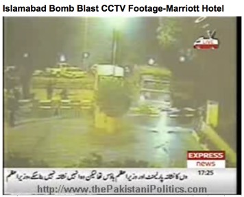 The suicide bomber's truck stopped at the Marriott front gate minutes before the explosion on September 20, 2008.
