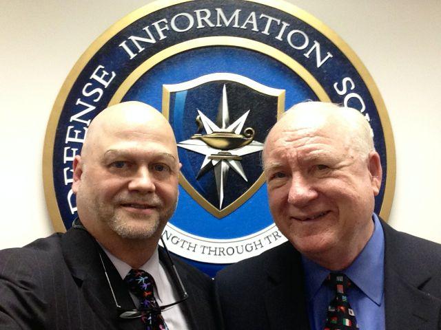 Helio Fred Garcia (L) and James E. Lukaszewski at US Defense Information School