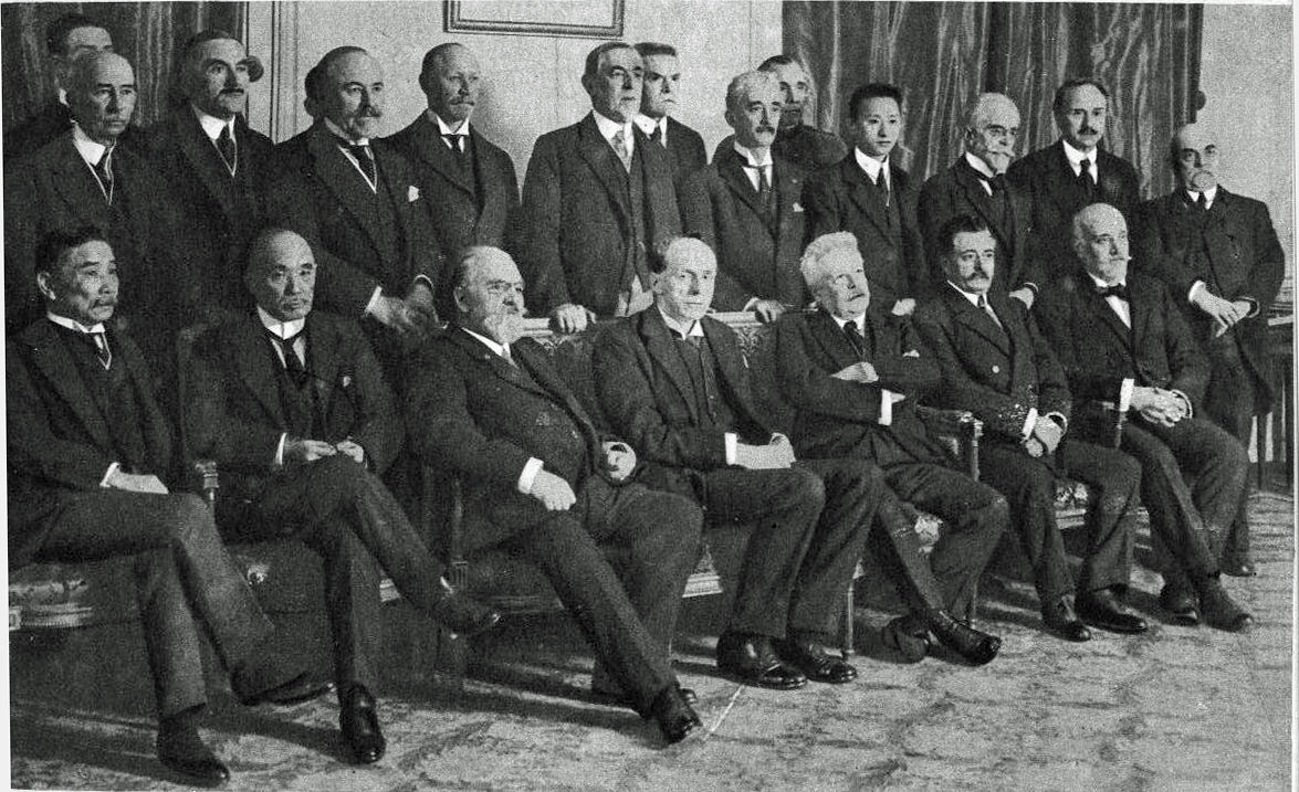 Photo of the members of the commission of the League of Nations created by the Plenary Session of the Preliminary Peace Conference, Paris, France, 1919