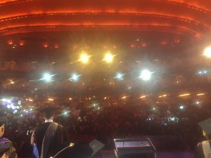 View from the platform: Garcia and Johnson supported graduates at the School of Professional Studies Convocation as part of the faculty platform party at Radio City Music Hall.