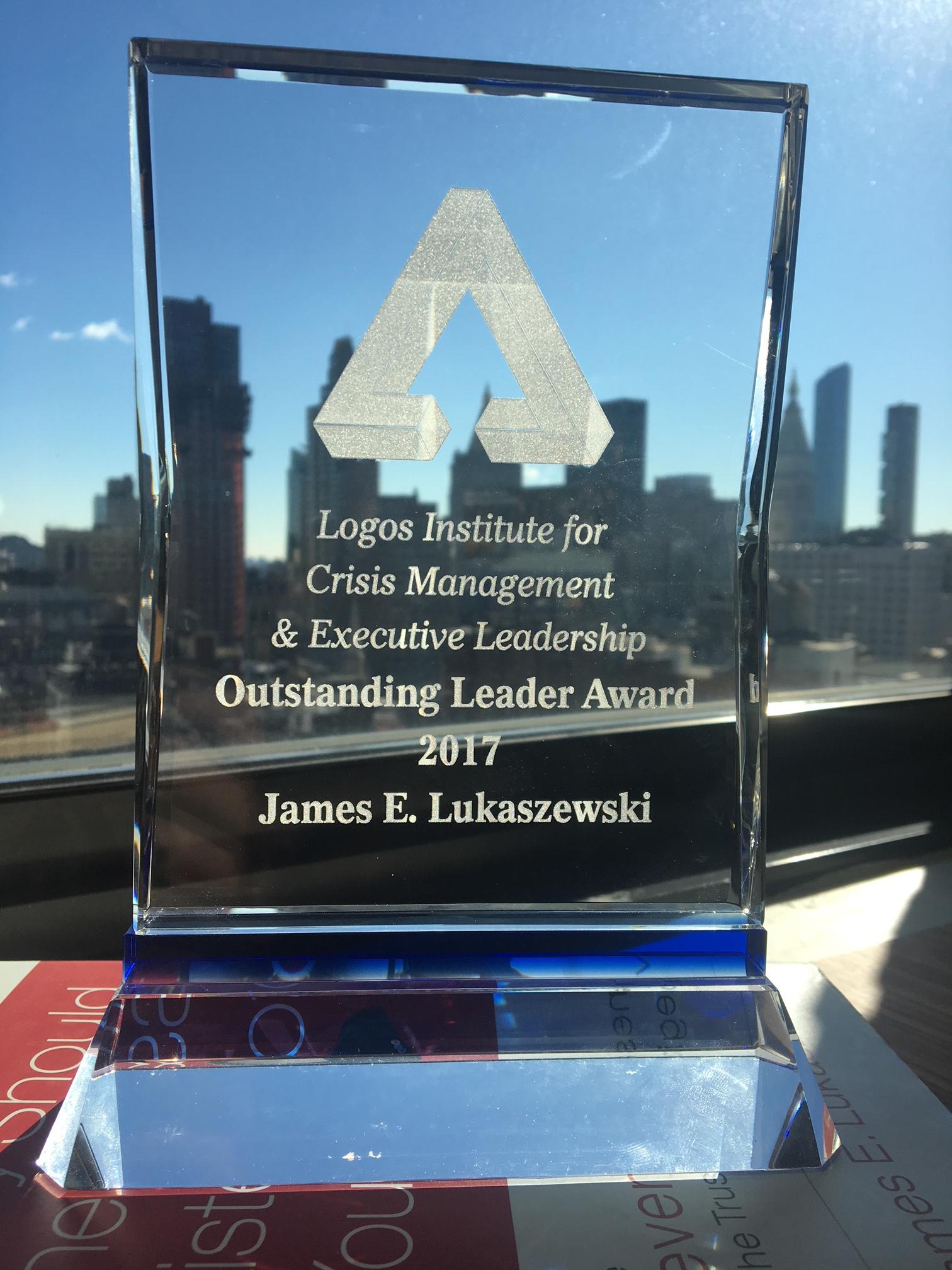 Logos Institute for Crisis Management & Executive Leadership Presents Inaugural Outstanding Leader Award to  James E. Lukaszewski