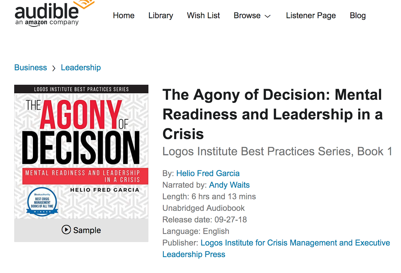 Agony of Decision Now Available as Audio Book - Logos Consulting Group